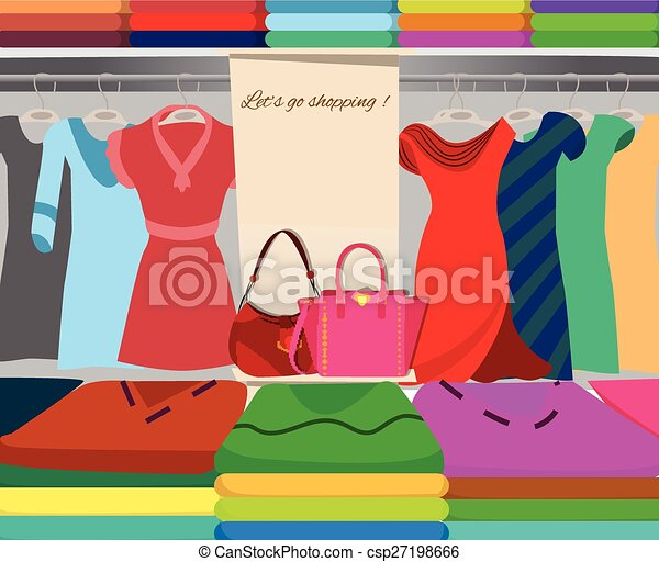 Wardrobe closet shopping background - csp27198666