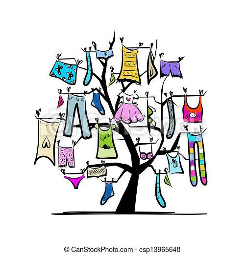 Wardrobe, clothes on tree for your design - csp13965648