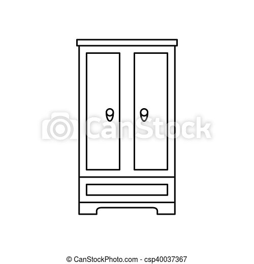 Wardrobe clipart black and white  Clip Art Vector of Wardrobe icon in outline style - icon in ...