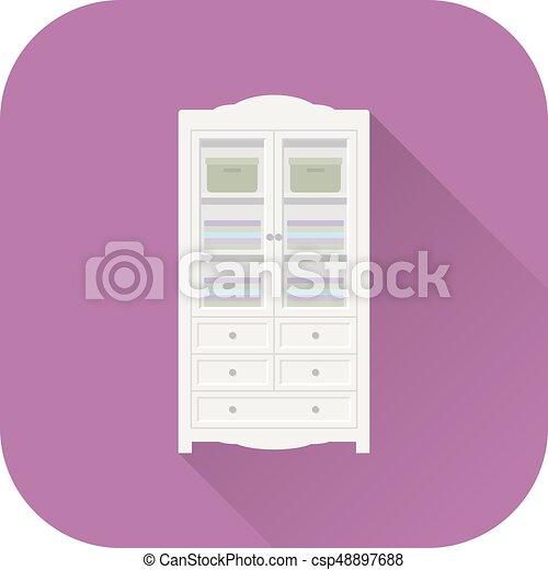 Wardrobe icon. Vector. Flat design with long shadow. - csp48897688