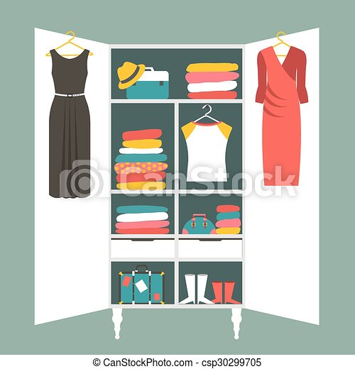 Wardrobe Indoor. Flat Design   Csp30299705