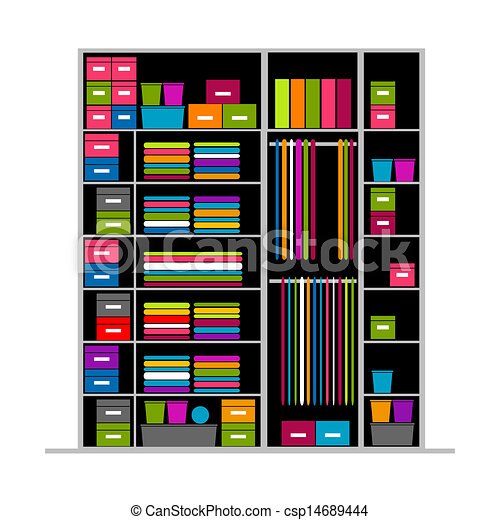Wardrobe clipart  EPS Vector of Wardrobe inside, illustration for your design ...