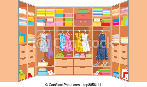 Wardrobe clipart  Wardrobe room. furniture. Vector illustration, color full vector ...