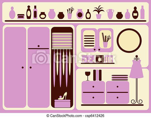 Wardrobe room interior. - csp6412426
