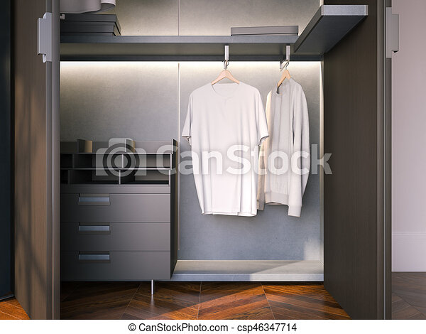 Wardrobe With Blank Empty T Shirts 3d Rendering Stock Illustration