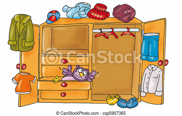 Wardrobe With Clothes Stock Illustration