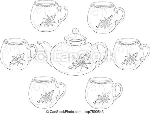 Ware, teapot and cups, set 3, contour - csp7590543