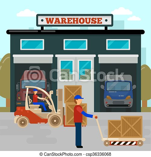 Warehouse building cargo industry worker on forklift clip warehouse building cargo industry worker on forklift cargo loading vector illustration voltagebd Choice Image