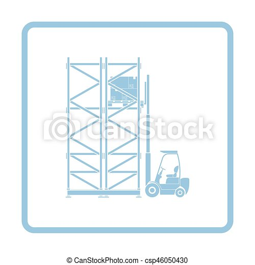 Warehouse forklift icon. blue frame design. vector illustration.
