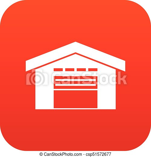 Warehouse icon digital red