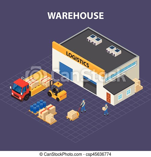 Warehouse Outside Isometric Design Concept - csp45636774