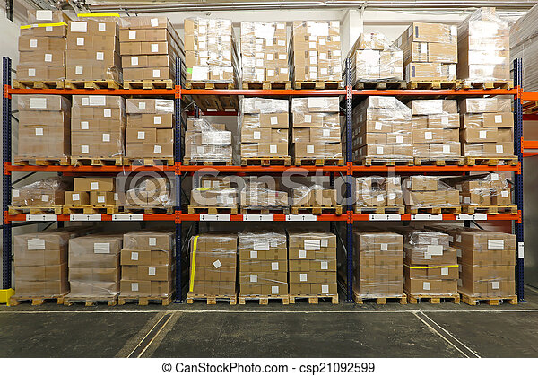 warehouse boxes with goods at shelves in warehouse rh canstockphoto com warehouse boxes exeter warehouse boxes collapse