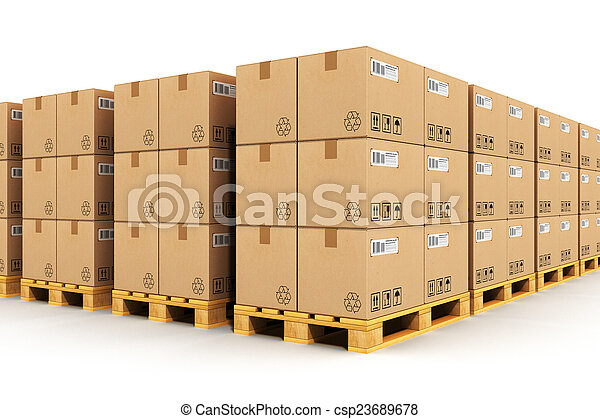 Warehouse with cardbaord boxes on shipping pallets - csp23689678