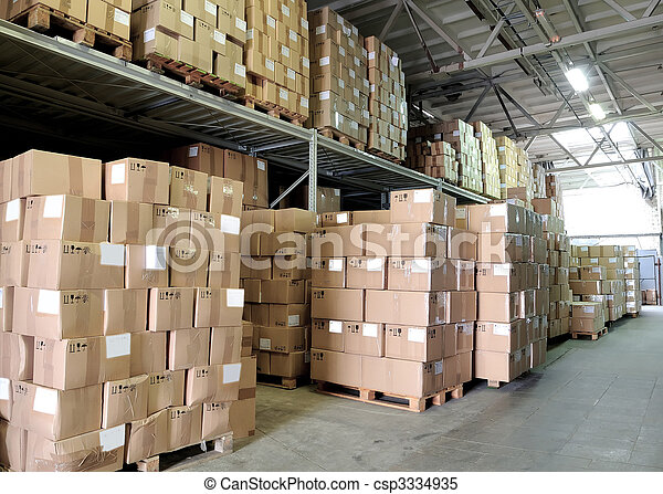 warehouse with cardboxes - csp3334935