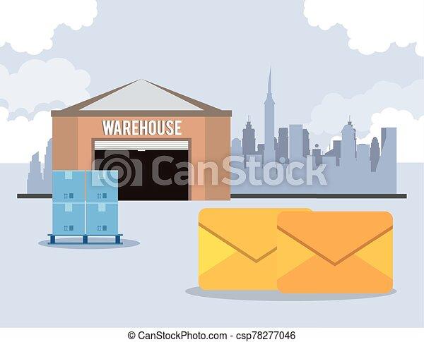 warehouse with envelopes postal service - csp78277046