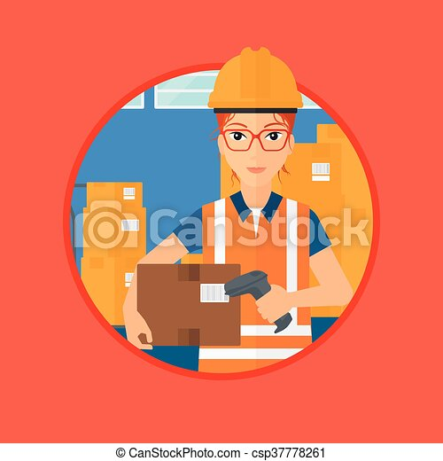 Warehouse worker scanning barcode on box female warehouse clip vector warehouse worker scanning barcode on box sciox Choice Image