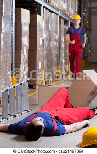 Warehouseman after accident at height - csp21497864
