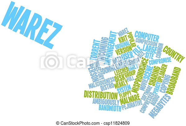Abstract word cloud for warez with related tags and terms.