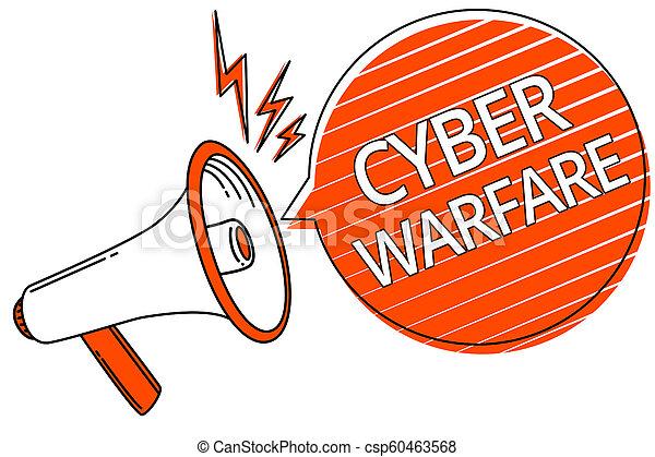 warfare., concept, hackers, texte, voleur, cyber, stalker, haut-parleur, système, virtuel, message., parole, numérique, orange, porte voix, bulle, guerre, raies, signification, important, attaques, écriture - csp60463568