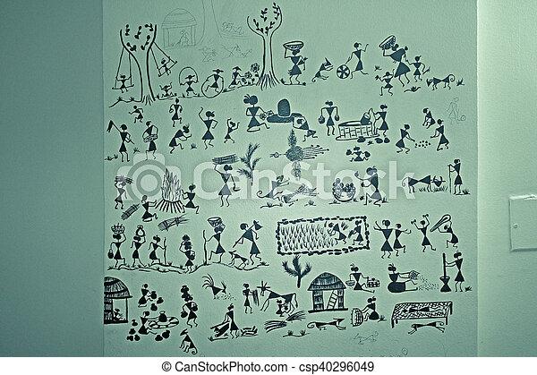 Warli wall painting handicraft maharashtra india stock photo warli wall painting handicraft maharashtra india csp40296049 thecheapjerseys Gallery