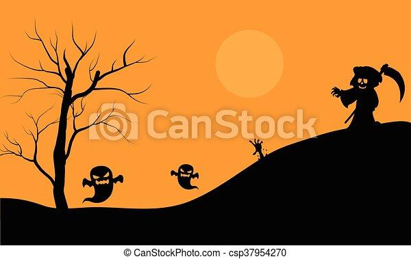 Brujo de Halloween y silueta aterradora de fantasmas - csp37954270