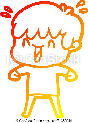 warm gradient line drawing cartoon laughing boy - csp71383944