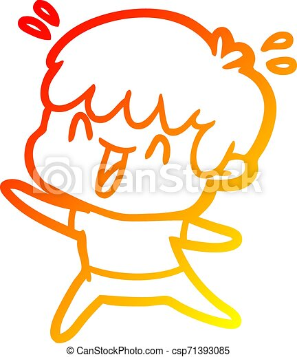 warm gradient line drawing cartoon laughing boy - csp71393085