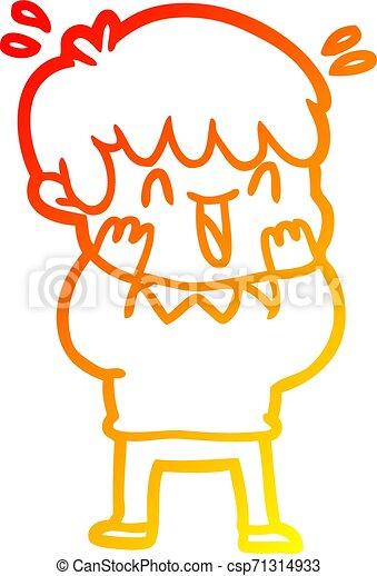warm gradient line drawing cartoon laughing boy - csp71314933