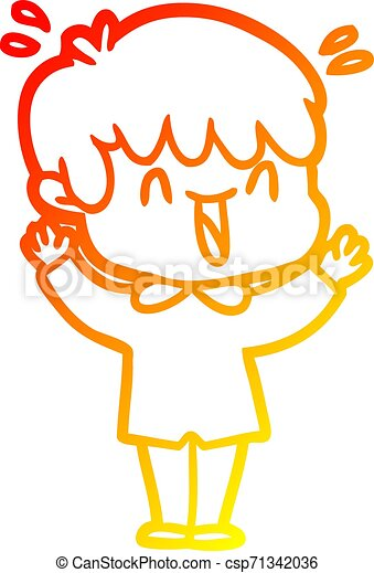 warm gradient line drawing cartoon laughing boy - csp71342036