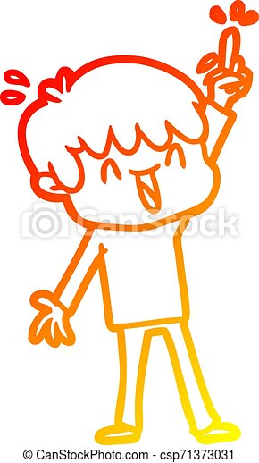 warm gradient line drawing cartoon laughing boy - csp71373031