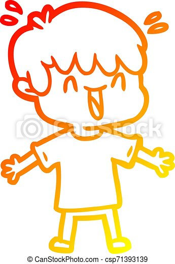 warm gradient line drawing cartoon laughing boy - csp71393139
