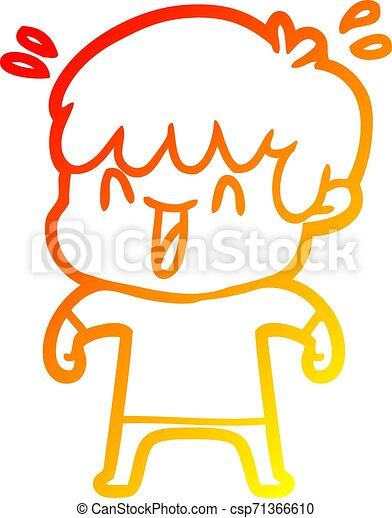 warm gradient line drawing cartoon laughing boy - csp71366610