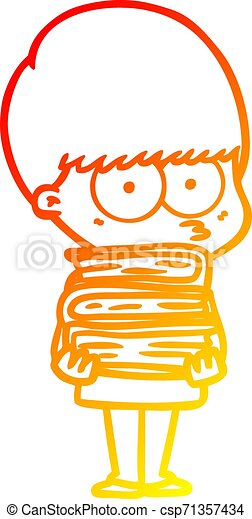 warm gradient line drawing nervous cartoon boy carrying books - csp71357434