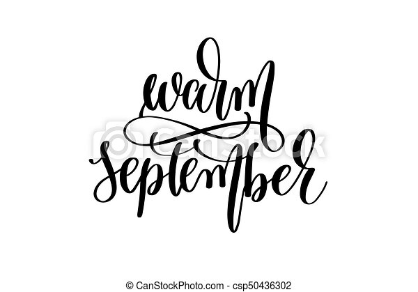 warm september hand written lettering inscription csp50436302
