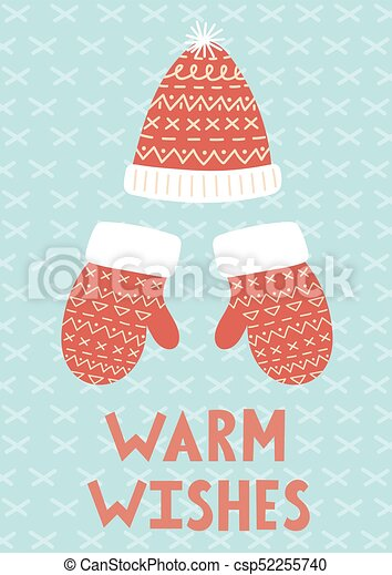 Warm wishes christmas greeting card with mittens and hat eps warm wishes christmas greeting card csp52255740 m4hsunfo