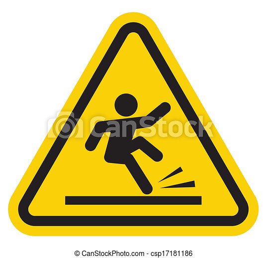 Warning falling off the stairs sign - csp17181186