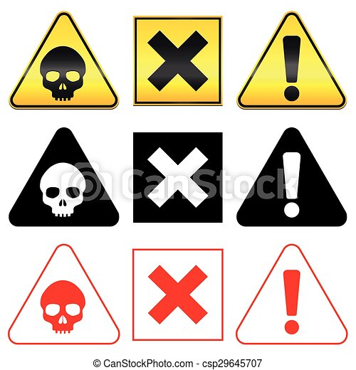 Warning Hazard Danger Symbols Warning Hazard Symbols Skull Cross