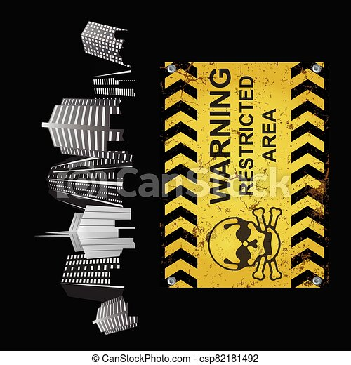 Warning restricted area sign city - csp82181492
