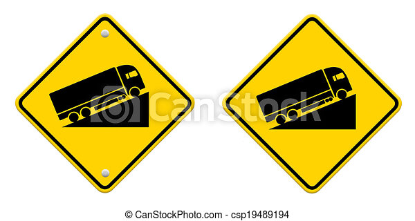 Warning road sign up to hill , Part of a series. - csp19489194