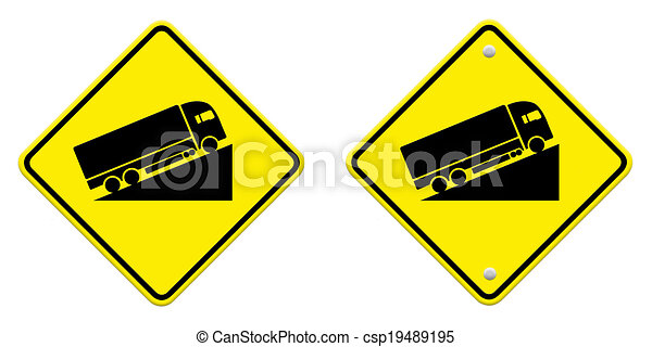 Warning road sign up to hill , Part of a series. - csp19489195