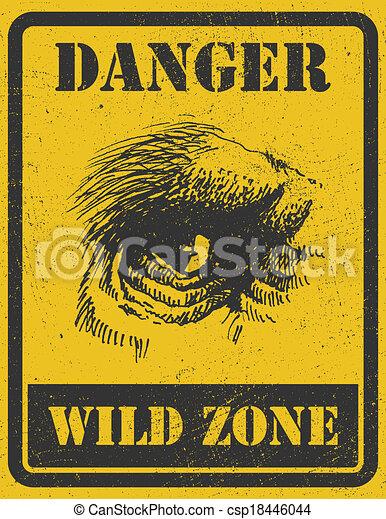warning sign. danger signal with gorilla. eps 8 - csp18446044