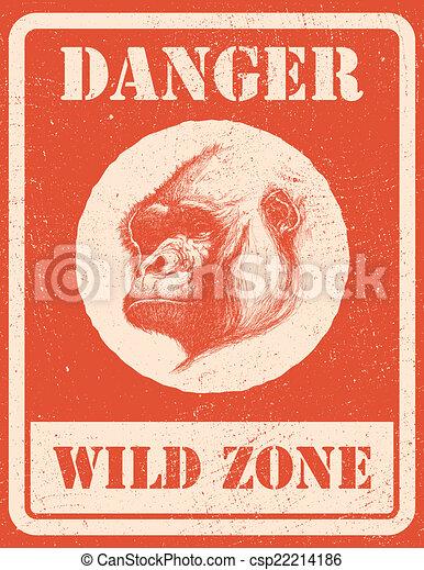 warning sign. danger signal with gorilla. eps 8 - csp22214186