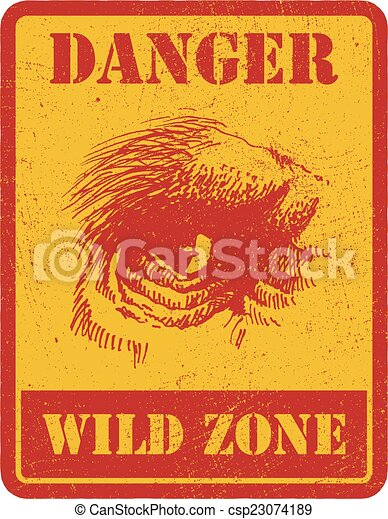 warning sign. danger signal with gorilla. eps 8 - csp23074189