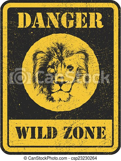 warning sign. danger signal with lion - csp23230264