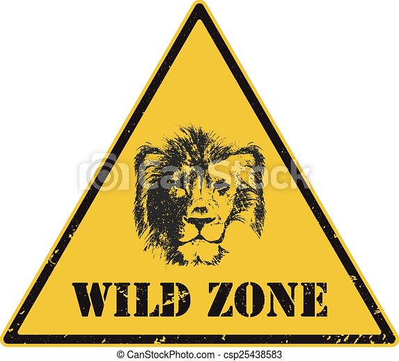 warning sign. danger signal with lion - csp25438583