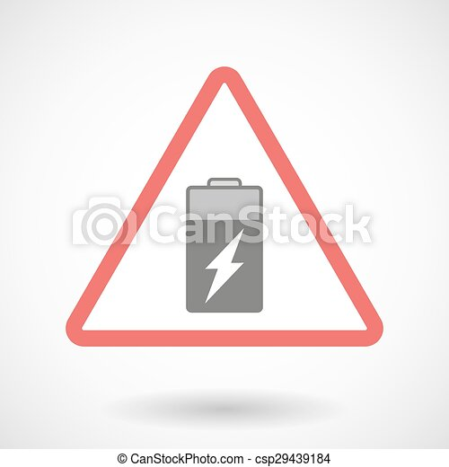 Warning signal with a battery - csp29439184