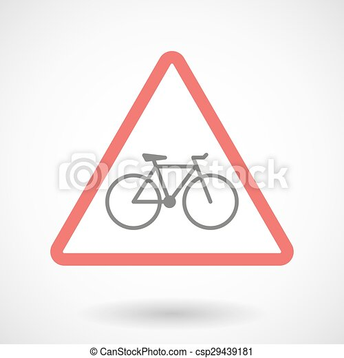 Warning signal with a bicycle - csp29439181