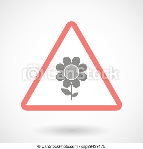 Warning signal with a flower - csp29439175
