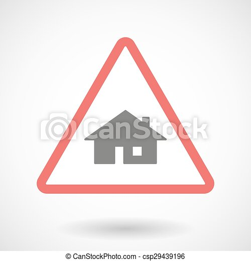 Warning signal with a house - csp29439196