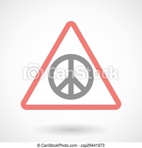 Warning signal with a peace sign - csp29441973